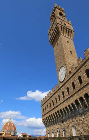 Florence Italy The Main monument in the city Duomo and Old Palace called Palazzo Vecchio in italian language Stock Photo
