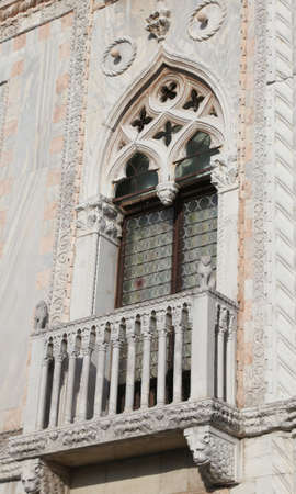 Detail of a Windows of an ancient Palace in Venice Italy Stock Photo