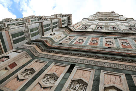 Incredible view with fisheye lens of Bell Tower of Cathedral by an italian artist called GIOTTO in Florence in Italy