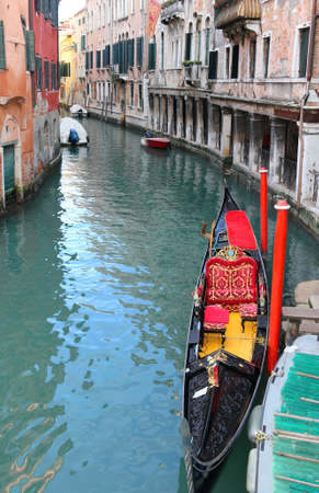 Venice Italy the water way with gondola Imagens