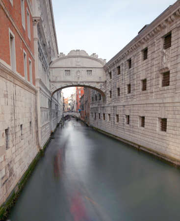 Venice Italy Bridge of sighs is an historical building with technique of long exposure 写真素材 - 95885278
