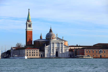 Bell Tower and Church of Saint George in the Giudecca Canal in Venice Italy