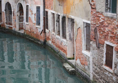 Old Houses near the navigable Canal in Venice Italy Imagens