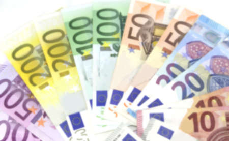 background of many european banknotes intentionally blurred