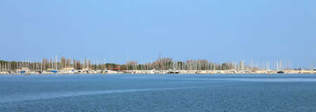many boats and yachts moored at touristic port Stock Photo