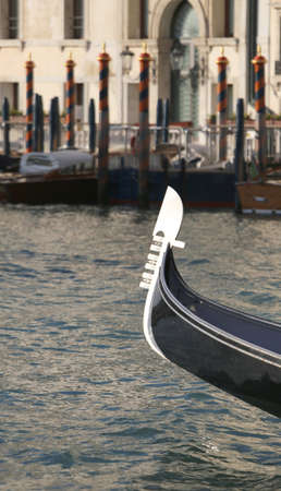 Typical boat called GONDOLA in Venice in Northern Italy saling in Grand Canal