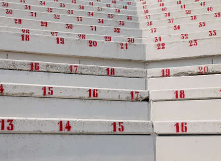 many numbers on the stadium bleachers to indicate a seat