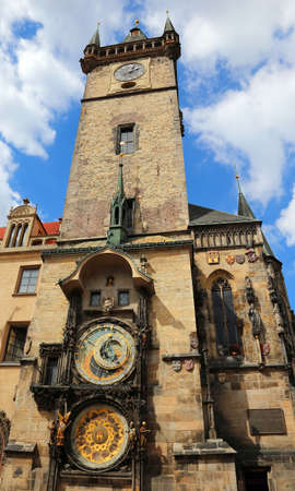 Medieval tower with an astronomical clock in Prague in Czech Republic Stock fotó