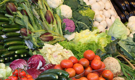 fresh organic vegetables for sale at market Stock Photo