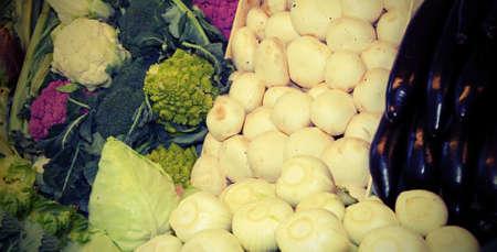 fresh vegetables for sale at market with vintage effect