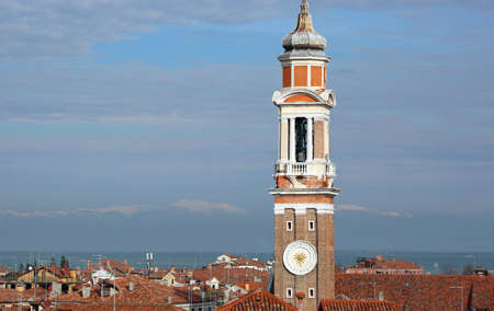 bell tower of Church of the Holy Apostles of Christ commonly called Santi Apostoli located in the Cannaregio sestiere of the Island of Venice in Italy