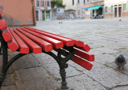 red bench in the square of Venice Island and a pigeon