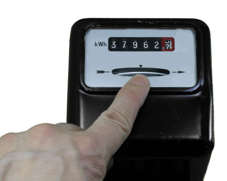 analog electric current meter and the index finger of a left hand