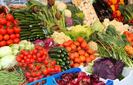 fresh organic vegetables for sale at italian market