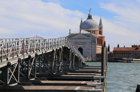 Venice Italy Pontoon bridge in wood and steel which connect the Church of the Redeemer 34 the boats used to support the bridge