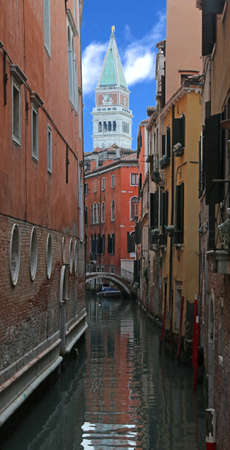 bell tower of Saint Mark in Venice Italy and the waterway without boats