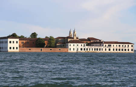 Venice Italy Many Buildings of the Benedictines in San Servolo Island in the Venetian Lagoon. Benedictine monks lived from at least the eighth century and for 5 hundred years.Later the hospital was us