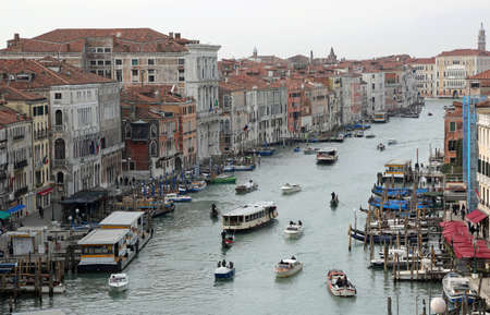 Venice Italy Grand Canal with many boats Editorial