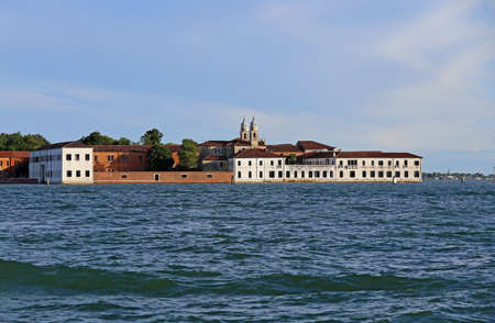 Venice Italy Buildings of the Benedictines in San Servolo Island in the Venetian Lagoon. Benedictine monks lived from at least the eighth century and for five hundred years