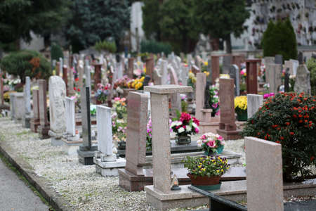 inside a cemetery with many tombs and tombstones without people but with many flowers