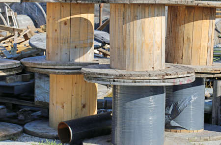 wooden reels for electrical cables in landfills