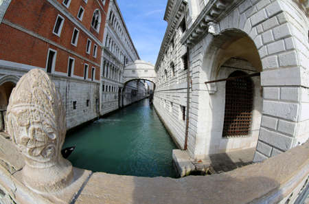 Ancient bridge of sighs by fish eye lens in Venice Italy Stock Photo
