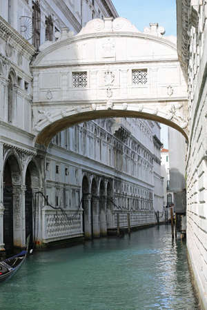 Ancient bridge of sighs the water way called Rio Palazzo in Venice Italy