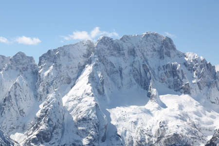 great high mountains with snow in winter Stock Photo
