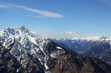 panoramic view of Mountain range with snow from Lussari Mount in Northern Italy in winter
