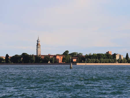 bell tower in the island called San Lazzaro degli Armeni that means Saint Lazarus of the Armenians in the Venetian lagoon in Italy