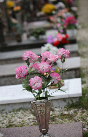 colorful flowers resting on a grave with one in the background a series of graves