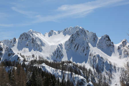 wide panormaric view of moutains from Italy in winter Stock Photo