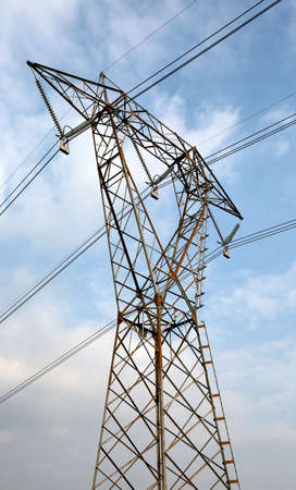 large high voltage metallic pylon with electric cables