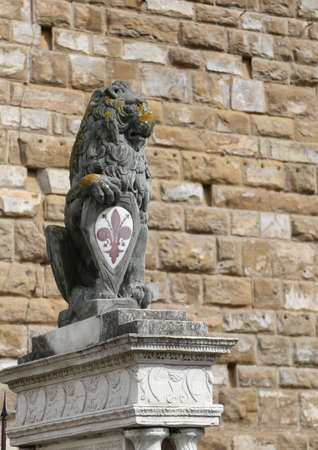 Statue of a great Panthera Leo or Lion with symbol of florence In Italy