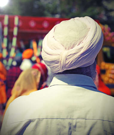 sikh man with turban with vintage effect Stock Photo