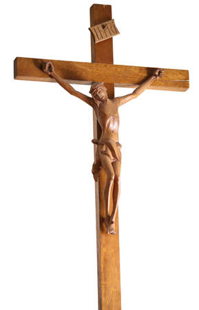 wooden crucifix with Jesus with the text inri on top
