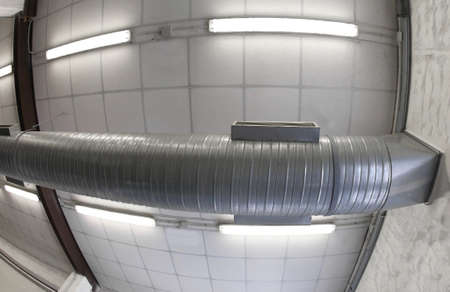 huge pipeline of a modern air conditioning system in the workshop