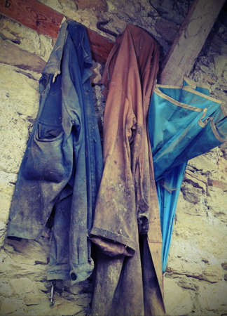 Many old clothes of the farmer