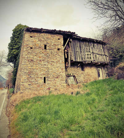 old stable in Northern Italy in the region called Carnia with vintage old effect