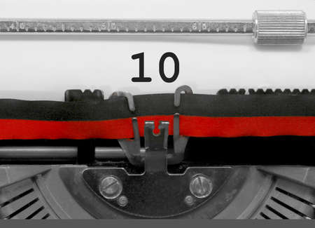 10 Number text written by an old typewriter on white sheet Stock Photo