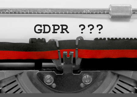 GDPR text that means General Data Protection Regulation is a regulation in EU law on data protection and privacy for all individuals within the European Union on typewriter Stock Photo