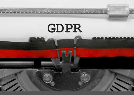 GDPR text that means General Data Protection Regulation is a regulation in EU law on data protection and privacy for all individuals within the European Union on old typewriter