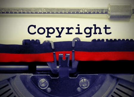 Copyright text written by an old typewriter with vintage effect Stock Photo