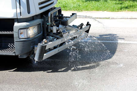 truck of the municipality that cleans the streets with jets of water and soap