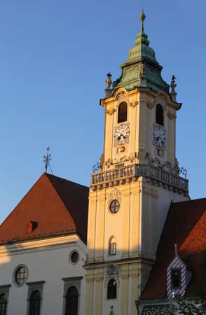 church with clock tower in bratislava slovakia Stockfoto
