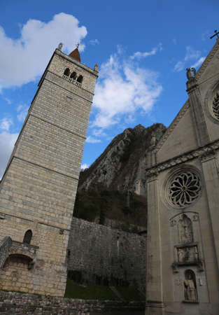 bell tower of Cathedral of Gemona del Friuli in Italy destroyed by an earthquake and rebuilt Banco de Imagens