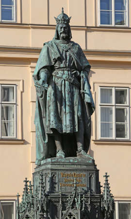 big statue of Charles IV King of Bohemia in Prague Czech Republic Central Europe