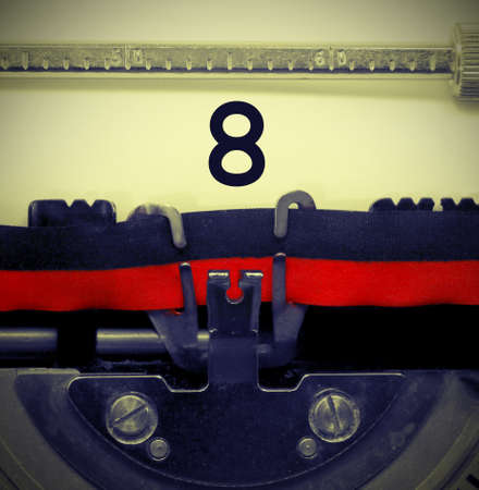 8 Number text written by an old typewriter and vintage effect