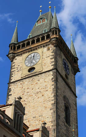Prague in Czech Republic Ancient clock of the medieval tower in the main city square Archivio Fotografico