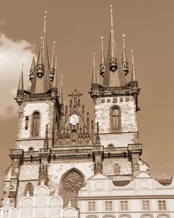 Church of Our Lady Tyn from Old Town Square in Prague Czech Republic Europe with sepia toned effect